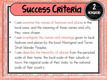 Grade 2 Geography – Aus curric Learning Goals & Success Criteria Posters
