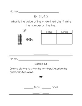Grade 2 Go Math Exit Slips Chapter 1