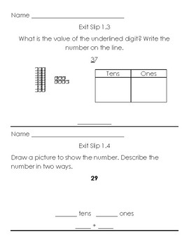 Grade 2 Go Math Exit Slips Chapters 1-11 with answer key