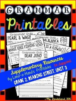Grammar Printables to Supplement Grade 2, Reading Street, Unit 3