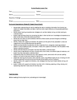 Grade 2 Guided Reading Template