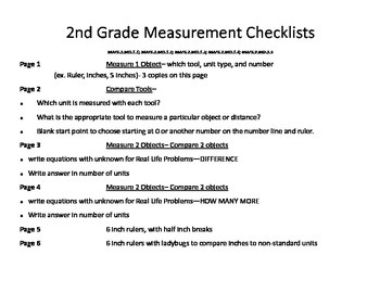 Grade 2 Hands on measurement checklist