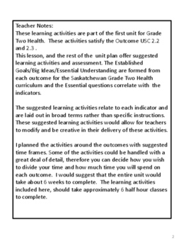 Grade 2 Health - Unit 1 Part 2  USC 2.2 and 2.3 (Saskatchewan)