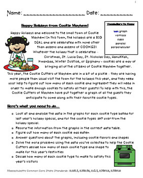 """Grade 2 Holiday Math Enrichment Inquiry Based Project - """"Cookie Mayhem"""""""