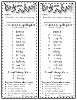 Grade 2 Regular & Challenge Spelling Lists BUNDLE Aligned with HMH Journeys