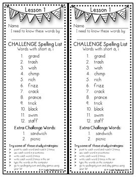 Grade 2 CHALLENGE Spelling Lists Aligned with HMH Journeys 2011, 2014 and 2017