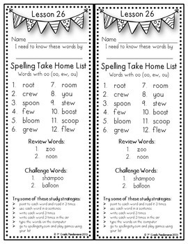 Grade 2 Weekly Spelling Lists Aligned with HMH Journeys 2011, 2014 and 2017