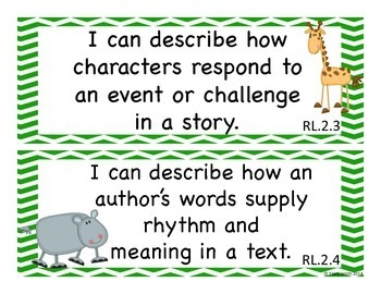 "Grade 2 ""I Can""  Kid Friendly Statements for classroom - Safari/Jungle Themed"