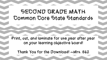 "Grade 2 ""I Can"" Math Common Core State Standards"