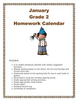 Grade 2 January Homework Calendar