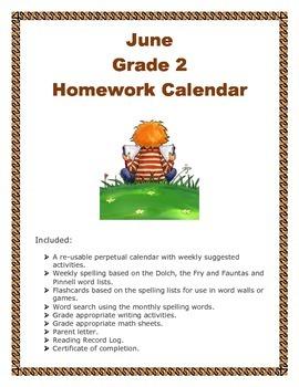 Grade 2 June Homework Calendar