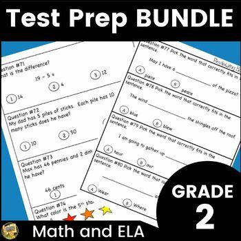 Grade 2 Lang. Arts/Math Test Prep Bundle - Standardized Te
