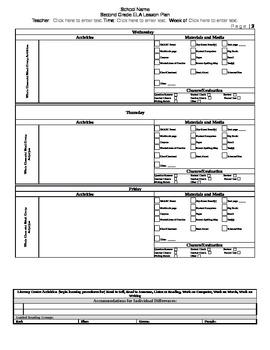 Grade 2 Louisiana CCSS ELA Lesson Plan Template