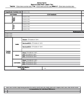 Grade 2 Louisiana CCSS Math Lesson Plan Template