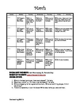 Grade 2 March Homework Calendar