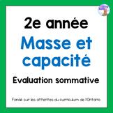 Grade 2 Mass & Capacity Quiz (French)