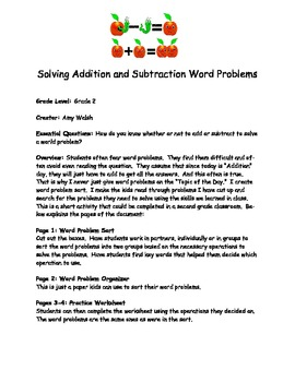 Grade 2 Math Activity: Addition and Subtraction Word Problem Sort