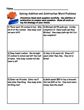 Grade 2 Math Activity: Addition and Subtraction Word Problem Sort ...