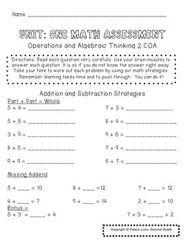 Grade 2 Math Assessment: Operations and Algebraic Thinking: 2.0A