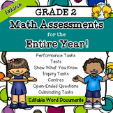 Grade 2 Math Assessments for the Entire Year (Editable)