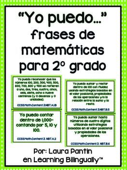 Grade 2 Math Common Core Standards in Spanish