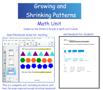 Grade 2 Math - Growing and Shrinking Patterns Unit - Ontario Curriculum