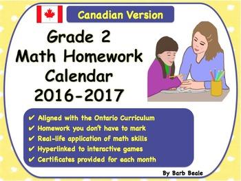 Grade 2 Math Homework Calendar 2016-2017 - Canadian Curriculum