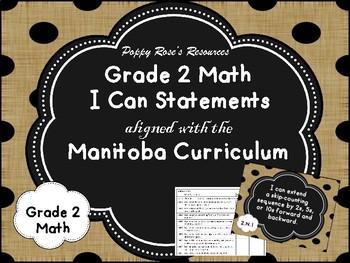 Grade 2 Math I Can Statements Manitoba Curriculum