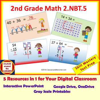 2.NBT.5 Grade 2 Math Interactive Test Prep --Add/Subtract