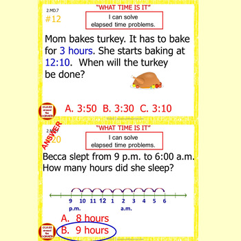 2.MD.7 Grade 2 Math Interactive Test Prep—COUNTING TIME for 2.MD.7
