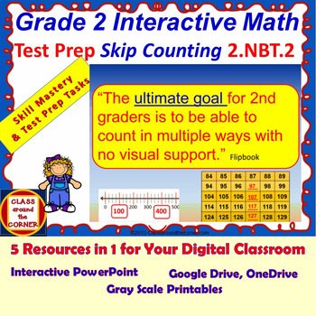 2.NBT.2 Math Interactive Test Prep – Skip Counting – in 3 Formats