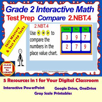2.NBT.4 Grade 2 Math Interactive Test Prep: < or = or > Compare 2.NBT.4