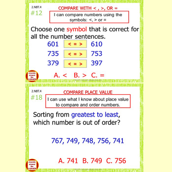 2.NBT.4 Math Interactive Test Prep – Compare Using >, =, and < in 3 Formats