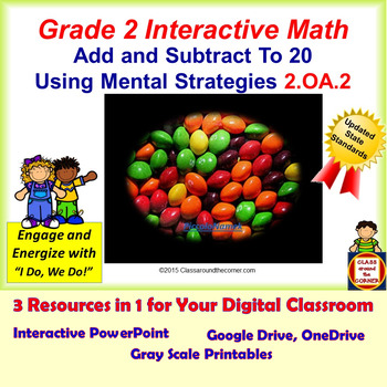 2.OA.2 Math Interactive Test Prep: Mentally Add & Subtract in 3 Formats