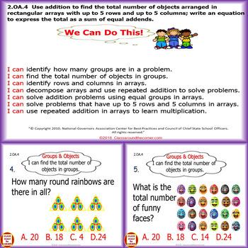 2.OA.4 Grade 2 Math Interactive Test Prep—Addition with Arrays 2.OA.4
