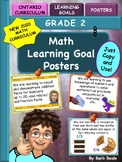 Grade 2 Math Learning Goal Posters - NEW 2020 Ontario Math