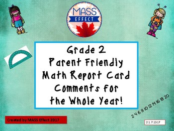 Grade 2 Math- Ontario Report Card Comments - ALL TERMS
