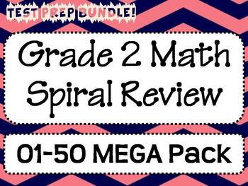 Grade 2 Math Spiral Review MEGA Pack 01-50