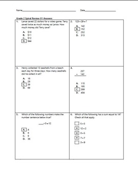 Grade 2 Math Spiral Review Pack 01-10