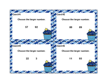 Numbers 0-99 -Choose the larger Number-Grade 2 -Math Task Cards