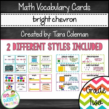 Math Word Wall Cards ~ Grade 2 (bright chevron)
