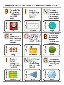 Math Vocabulary Activity Bingo Game 2nd Grade