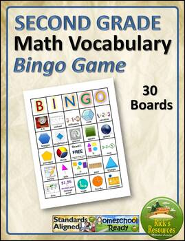 Math Vocabulary Words Practice and Review for 2nd Grade -