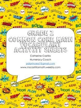 Grade 2 Math Vocabulary Organizer Comic Sheets Book Center Stations