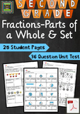 2nd Grade Unit & Test Fractions Parts of Whole & Parts of a Set (TEKS,STAAR)*PDF