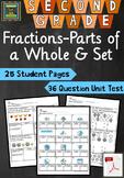 2nd Grade Unit & Test Fractions Parts of Whole & Parts of a Set (TEKS,STAAR)*PDF