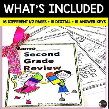 Grade 2! Math for Summer Review! No Prep!