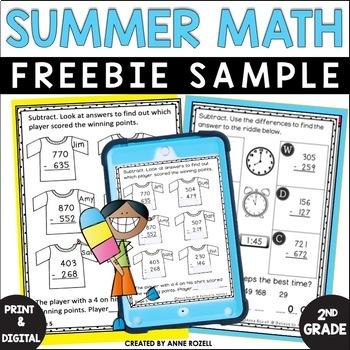 Grade 2! Math for Summer Review! No Prep! FREEBIE Sample!