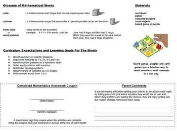 Grade 2 Mathematics Homework Calendar 2017-2018 - Canadian Curriculum