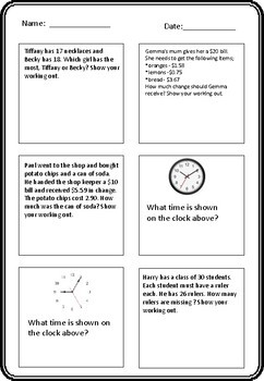 Grade 2 Maths Assessment - End of Year - Common Core Aligned
